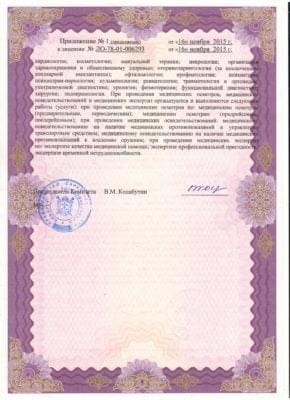 Лицензия 2015 год, 196653 Санкт-Петербург, город Колпино, проспект Ленина, д. 21, лит. А, пом. 9-Н Лицензия 1Лицензия 2